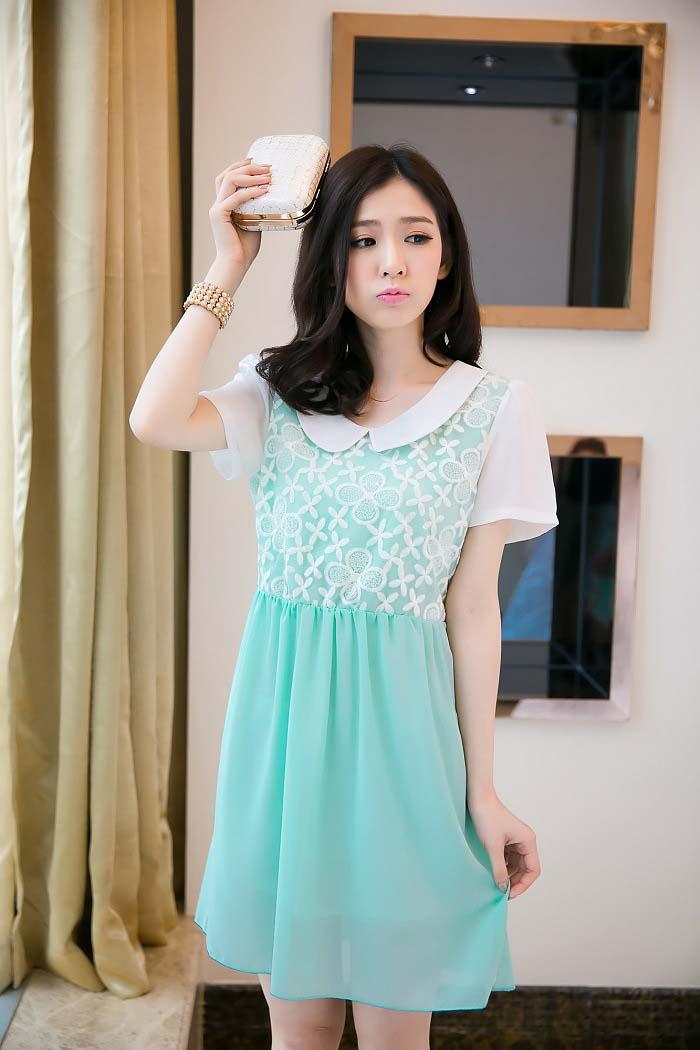 MINI DRESS KOREA SIFON BUNGA BIRU CANTIK