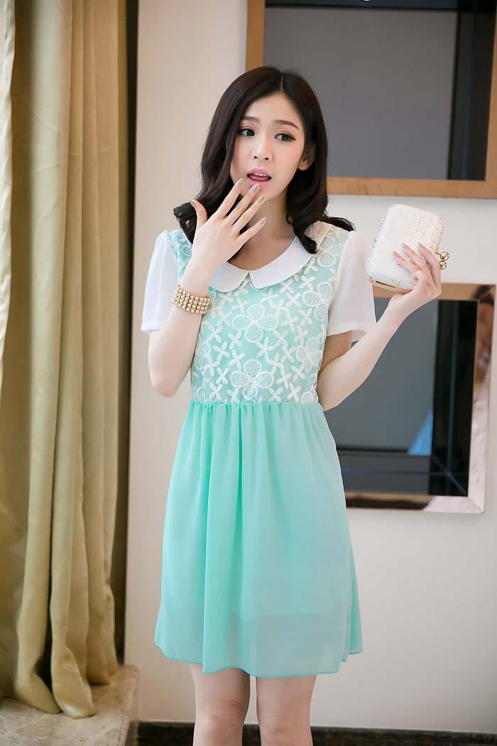MINI DRESS KOREA SIFON BUNGA BIRU TERKINI