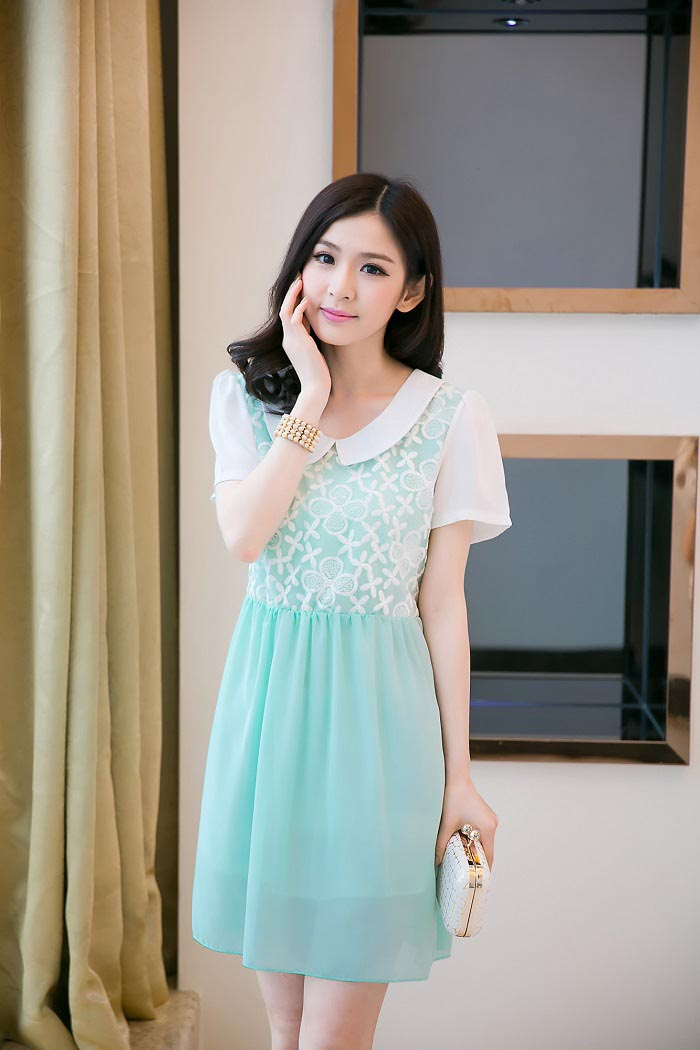 MINI DRESS KOREA SIFON BUNGA BIRU
