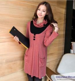 DRESS WANITA KOREA LENGAN PANJANG