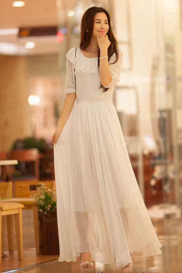 JUAL LONG DRESS KOREA SIFON PUTIH
