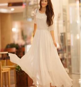LONG DRESS KOREA SIFON PUTIH
