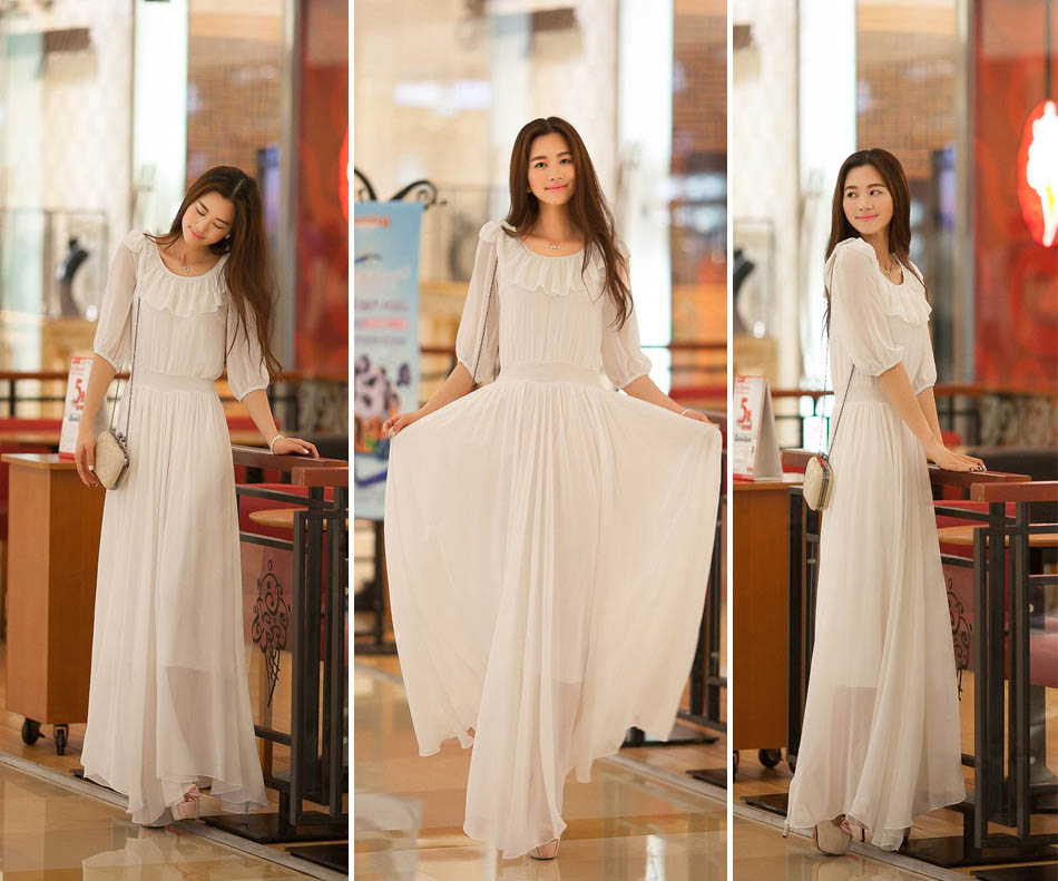 LONG DRESS KOREA SIFON PUTIH ANGGUN