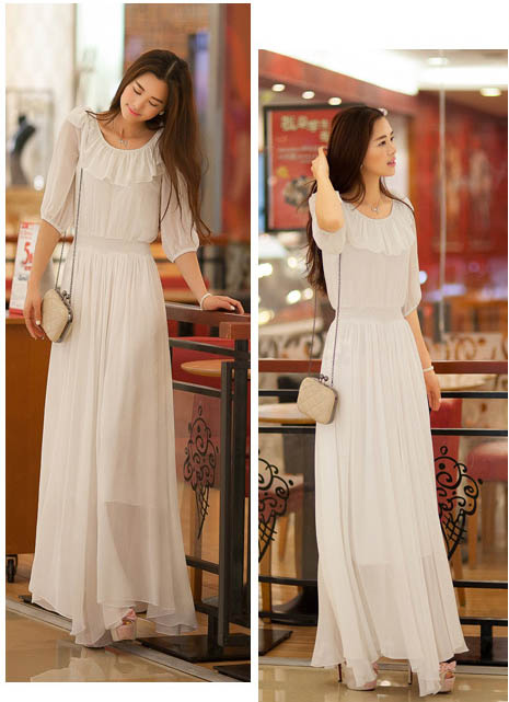 LONG DRESS KOREA SIFON PUTIH IMPORT