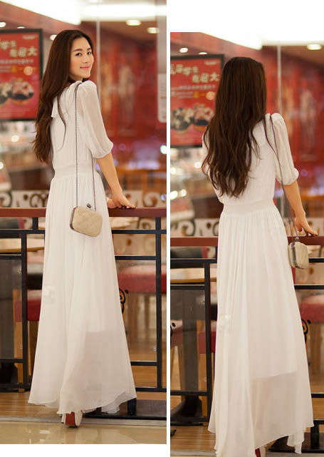 LONG DRESS KOREA SIFON PUTIH MURAH
