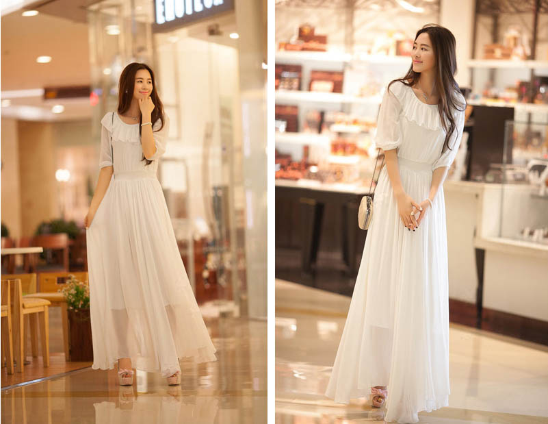 LONG DRESS KOREA SIFON PUTIH TERBARU