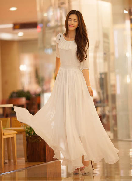LONG DRESS KOREA SIFON PUTIH