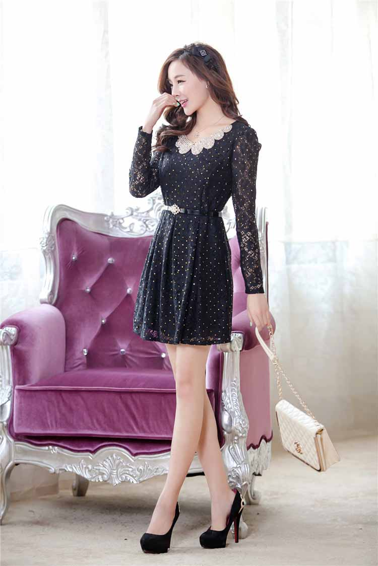 BELI DRESS KOREA BAHAN BROKAT ONLINE