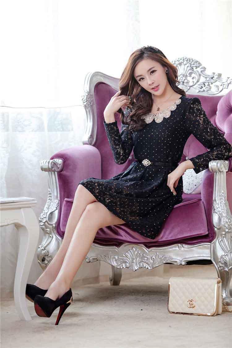 DRESS KOREA BAHAN BROKAT ONLINE CANTIK