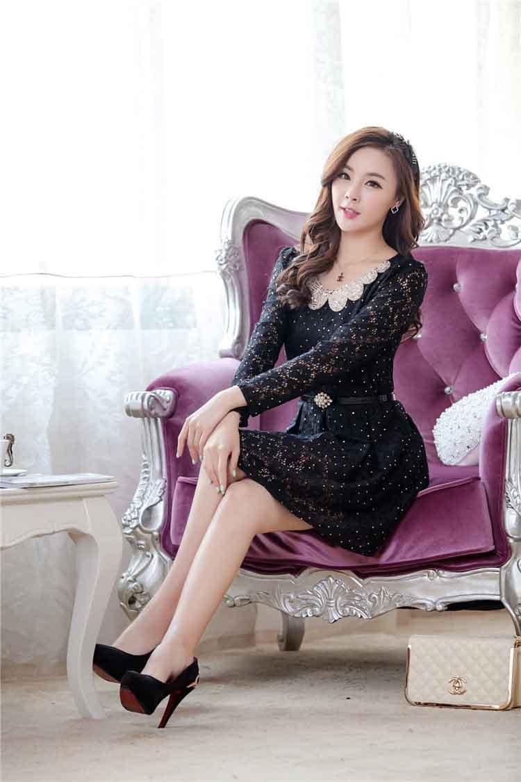 DRESS KOREA BAHAN BROKAT ONLINE TERBARU