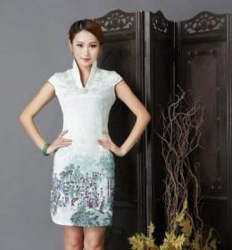 BELI DRESS CHEONGSAM IMLEK PUTIH HIJAU 2015