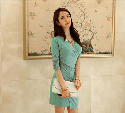 BELI DRESS KOREA KERAH V MODEL TERBARU 2015