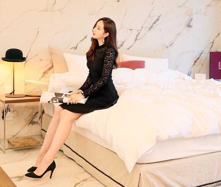 BELI DRESS PESTA KOREA WARNA HITAM BROKAT