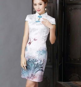 DRESS CHEONGSAM MODERN WARNA PUTIH HIJAU