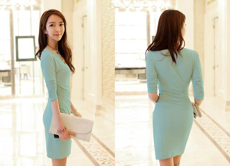 DRESS KOREA KERAH V MODEL TERBARU 2015 CANTIK