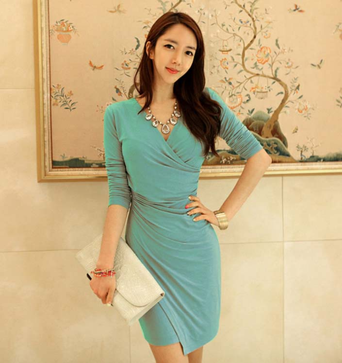 DRESS KOREA KERAH V MODEL TERBARU 2015 MODIS