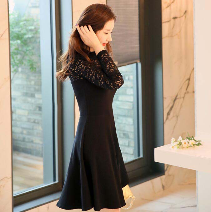 DRESS PESTA KOREA WARNA HITAM BROKAT MODIS