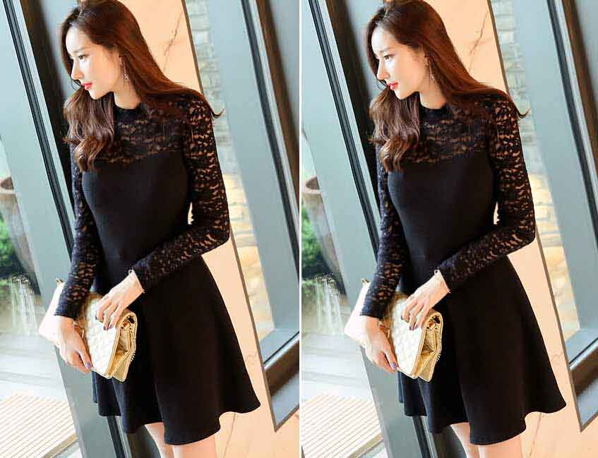 DRESS PESTA KOREA WARNA HITAM BROKAT TERBARU
