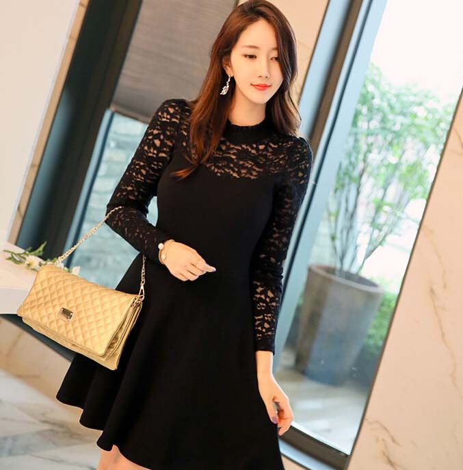 DRESS PESTA KOREA WARNA HITAM BROKAT