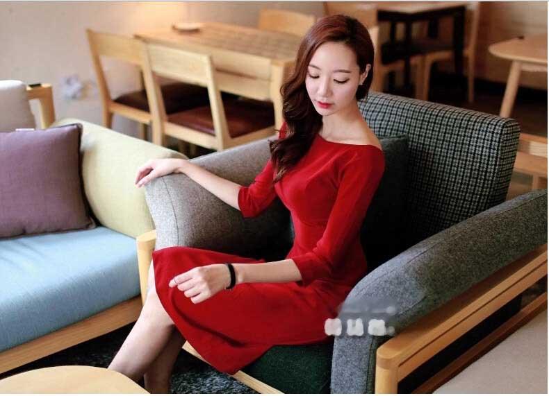 BELI DRESS KOREA MERAH TERBARU PANJANG SELUTUT