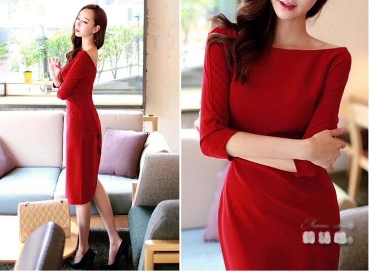 DRESS KOREA MERAH TERBARU PANJANG SELUTUT SIMPLE