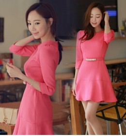 DRESS KOREA WARNA PINK 2015