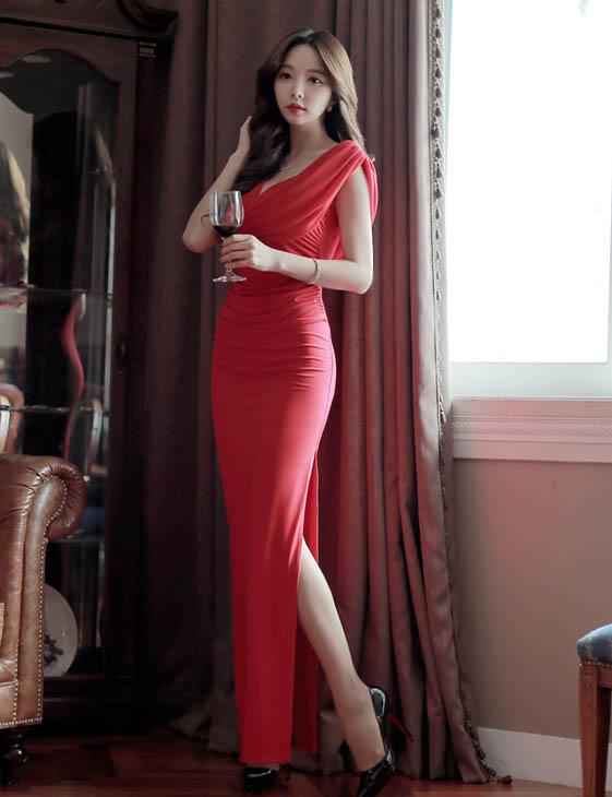Long Dress Pesta Korea 2015 Model Terbaru Jual Murah Import