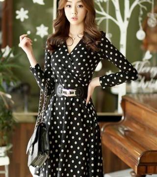 Dress Polkadot Hitam Putih Panjang Model Terbaru Jual