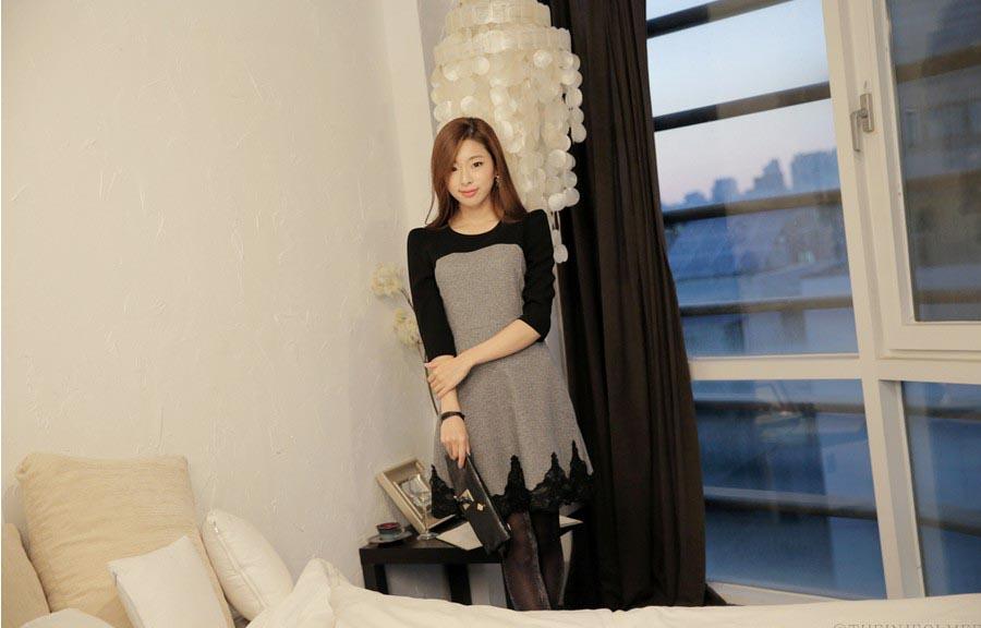 DRESS WANITA WARNA HITAM MODIS 2015 KOREA