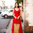 LONG DRESS WANITA WARNA MERAH MODIS TERBARU
