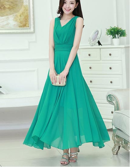 LONG DRESS WANITA HIJAU CANTIK TERBARU FASHION