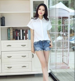 BLOUSE PUTIH CANTIK MODEL KOREA 2015 ELEGANT