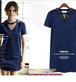 DRESS WANITA CANTIK BIRU NAVY TERMODIS