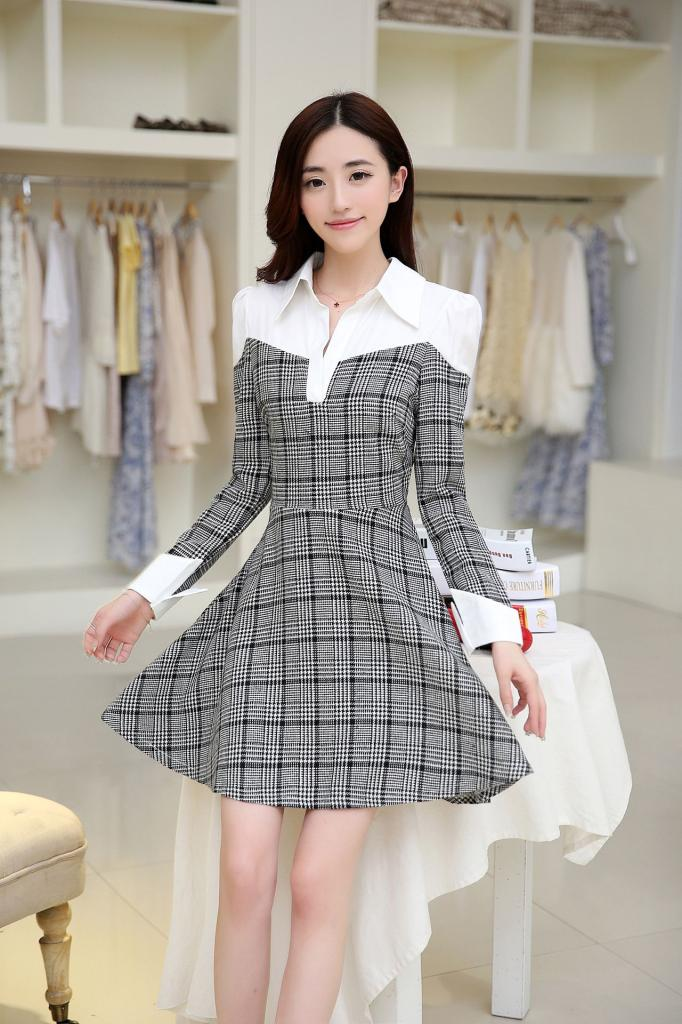 DRESS FLANEL CANTIK SIMPLE TERBARU 2015