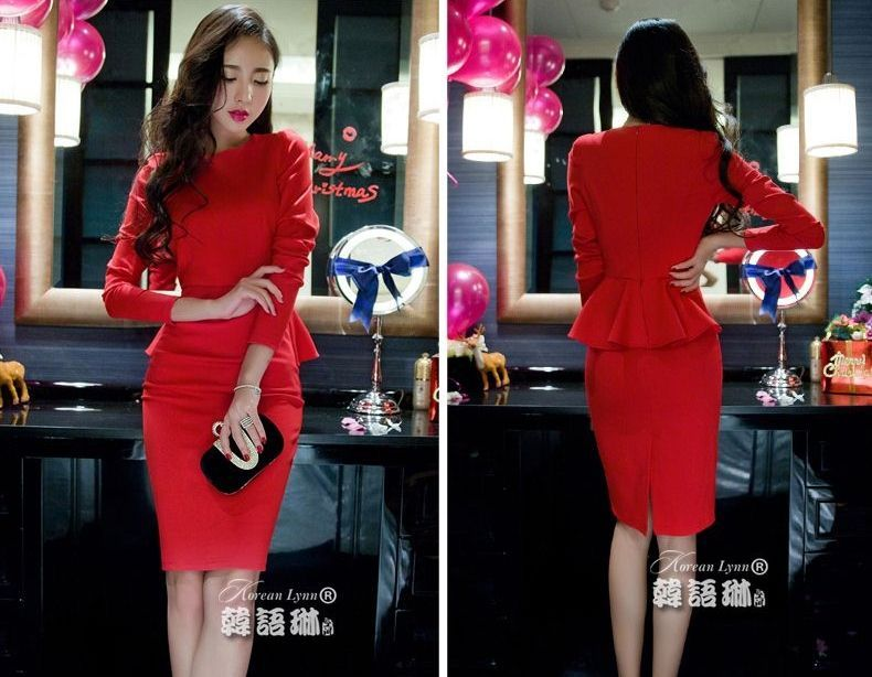 DRESS PESTA MERAH ELEGANT TERBARU MODERN