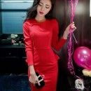 DRESS PESTA MERAH ELEGANT TERBARU MODIS