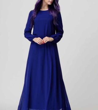 Baju Gamis Biru Import 2016 Model Terbaru Jual Murah