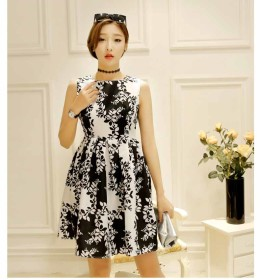 DRESS KOREA CANTIK LENGAN BUNTUNG 2016 SIMPLE