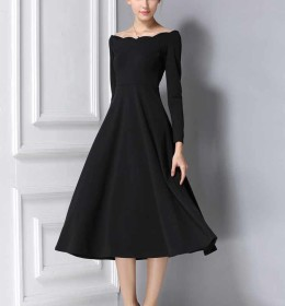 DRESS LENGAN PANJANG HITAM ELEGANT 2016 FASHION