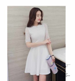DRESS PUTIH ELEGANT ONLINE IMPORT 2016