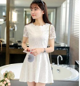 MINI DRESS BROKAT PUTIH CANTIK 2016