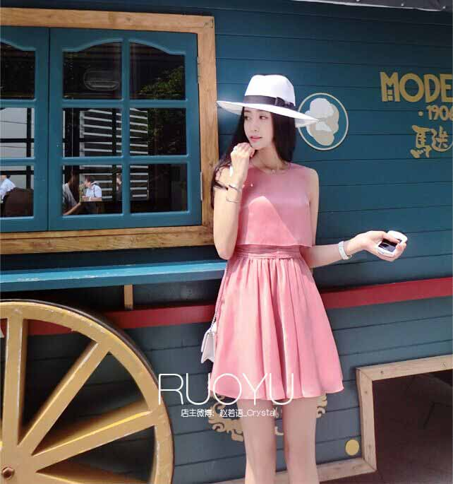 MINI DRESS PINK LENGAN BUNTUNG 2016 CANTIK