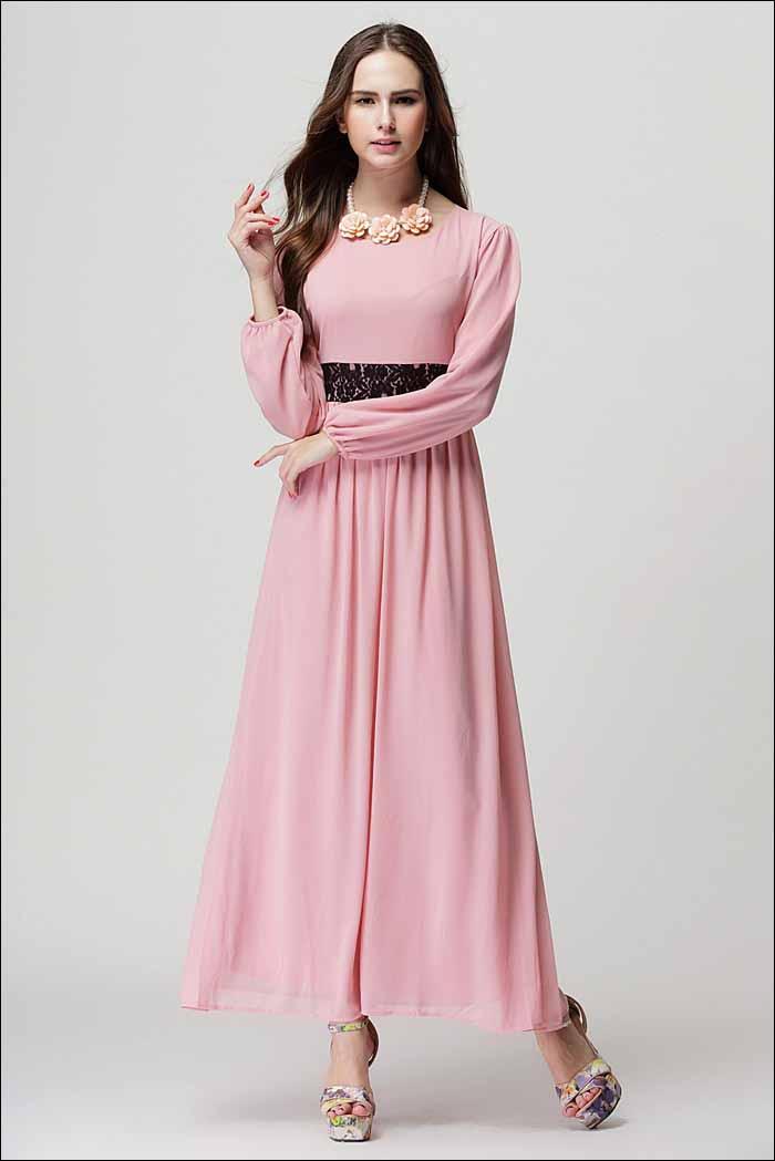 long-dress-lengan-panjang-pink-2016