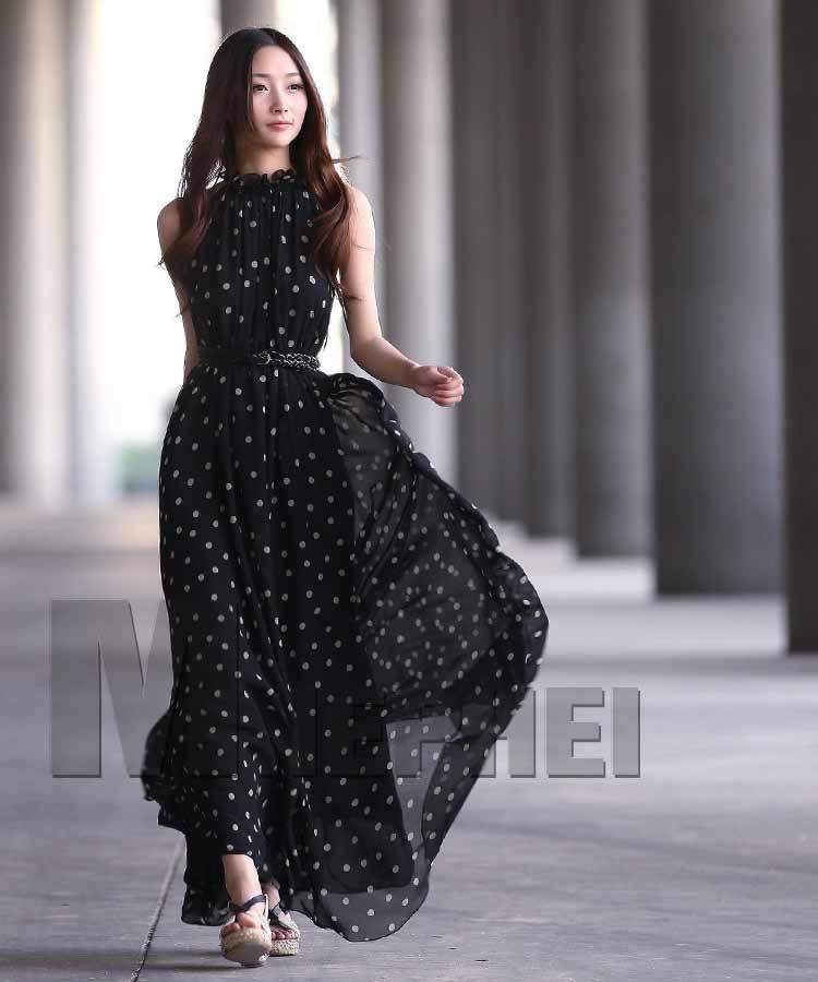 long-dress-polkadot-lengan-buntung-2016