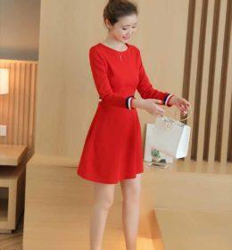 dress-natal-lengan-panjang-korea-terbaru-2016