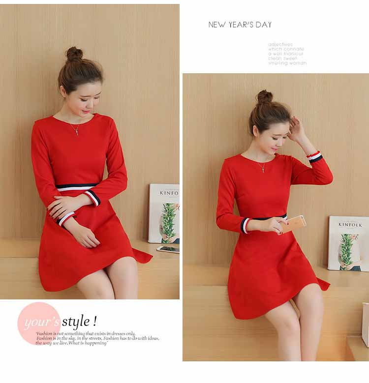 dress-natal-lengan-panjang-korea-terbaru-fashion