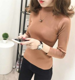TURTLENECK SWEATER WANITA SIMPLE IMPORT 2017
