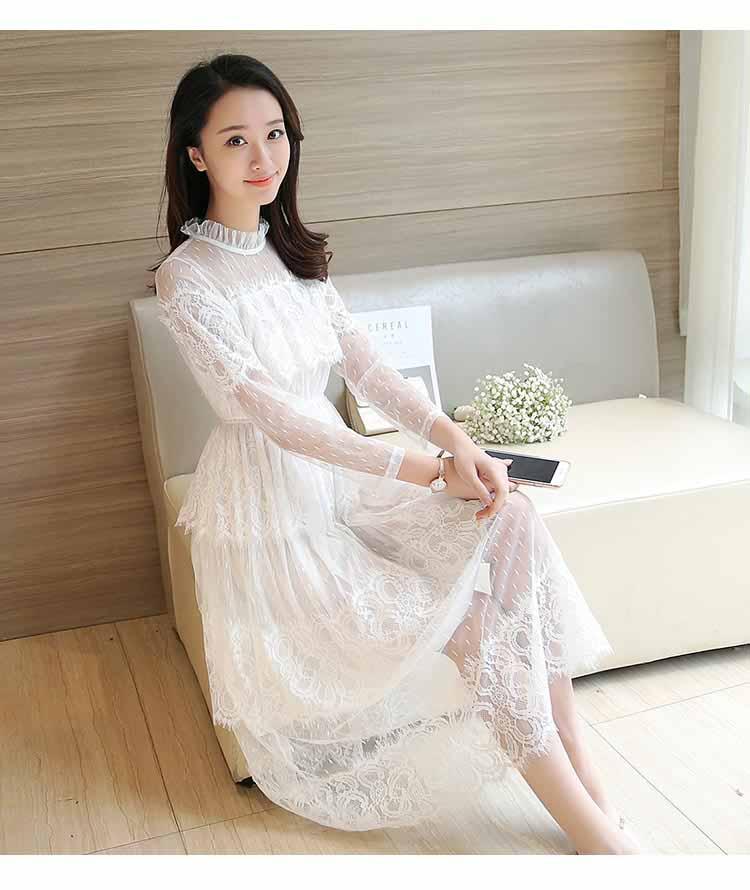 DRESS BRUKAT KOREA LENGAN PANJANG 2017 ELEGANT