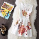 DRESS PESTA PUTIH MOTIF BUNGA IMPORT