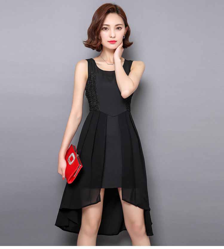 Dress Pesta Lengan Buntung Warna Hitam Model Terbaru Jual Murah